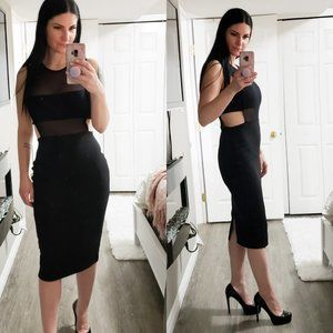 Misguided * Bandage Bodycon Dress * Black Mesh